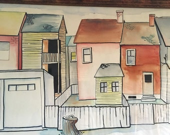 Vintage Watercolor Painting Houses Mid Century Artwork