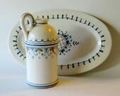 Italian Pottery Set, Vintage Italian Pottery, Italian Cruet and Oval Dish, Blue White Hand Painted Pottery, Olive Oil Bread Dipping Set