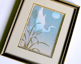 Framed Crane Print, Gold Frame with Crane Print, Asian Egret Crane in Gold Frame, Vintage Crane Print in Frame, Framed Vintage Bird Print