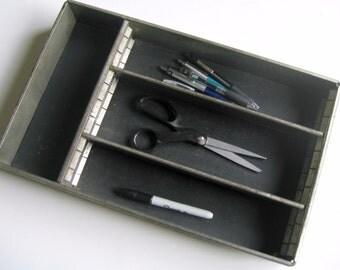 Vintage Industrial Metal Flatware Holder, Metal Silverware Tray, Utensil Holder, Aluminum Metal Tray, Metal Cutlery Tray, Office Tray