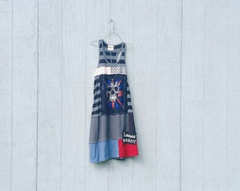 House of Blues whimsical rock and roll dress tunic upcycled clothing Patchwork Dress Eco Dress / Artsy Dress by CreoleSha