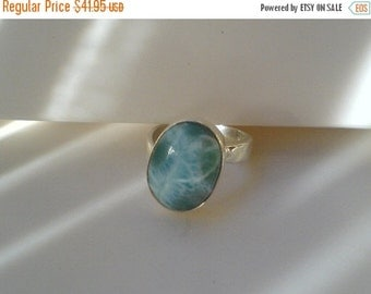 ON SALE Larimar Jewelry Aquamarine ring March birthstone Oval Ring Larimar ring turquoise jewelry set in Sterling silver 925 SIZE 8 1/2