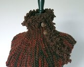 FREE US SHIPPING - Light Dark Brown Rust Sienna Color Capelet Collar Cowl Turtleneck Scarf Gaiter with Buttons and Faux Fur Yarn Trim