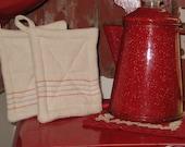 Grain Sack Pot Holders Red Blue Stripe Vintage Feed Sack Rustic Kitchen Farmhouse Primitive Kitchen Camping Glamping Grilling Potholders