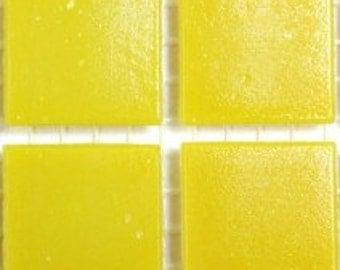 "ON SALE 20mm (3/4"") Lemon Yellow Vitreous Glass Mosaic Tiles//Mosaic//Mosaic Supplies"