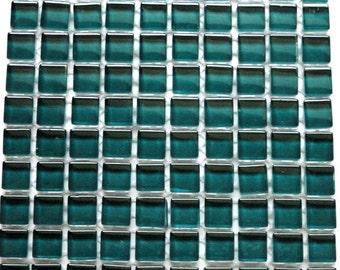 100 (10mm) Dark Teal Emerald Green MINI Crystal Glass Mosaic Tiles 3/8 in.// Mosaic Supplies// Craft Supplies//Mosaic