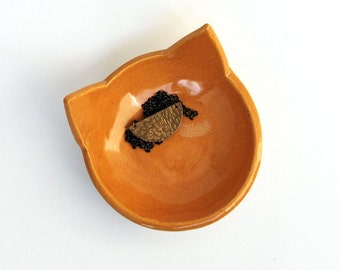 Orange Cat Bowl, Ceramic, Pottery - Handmade, Cat Food Bowl, Halloween Candy Dish, Jewelry Dish, Spoon Rest, Key Holder, Decorative Bowl