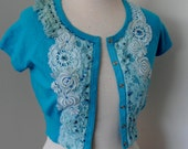 Upcycled small size short sleeved cropped cardigan top, recycled beaded  vintage lace cardigan