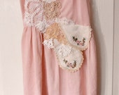 upcycled dress, pink cotton strappy dress, hand beaded, vintage lace,  lightweight fitted summer dress
