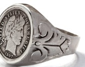 Barber dime ring sterling silver coin rings by  Blue Bayer Design NYC