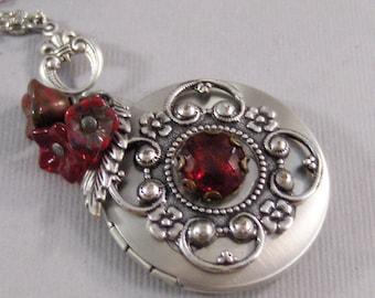 Scarlet Blossom,Red Locket,Red Necklace,Christmas Locket,Christmas Necklace,Flower,Red,Ruby,Garnet,Antique Locket,Floral, valleygirldesigns.
