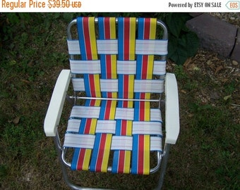 Valentines SALE Vintage Child's Lawn Chair, Webbed Aluminum, Red, Blue Yellow