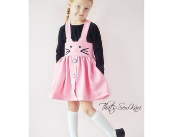 Skirt Sewing Pattern, Ani-Mazing Suspender Skirt Exc, Girls Suspender Skirt, Girls Skirt Pattern, Cat, Dog, Bunny, Fox, Easy Sewing Pattern