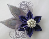 Purple Wedding Fascinator, Royal Purple Hair Piece, Silver Peacock Head Piece, Rustic Bridal Kanzashi Hair Flower, Flower Brooch