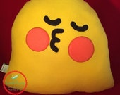 "Emoji Symbol Plush Pillow Pucker Face - Yellow Emoji Face Plushie 14"" tall - Fleece Emoji Decorative Throw Pillow - Pucker Lips Emoji Plush"