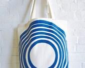 Cobalt Blue Canvas Tote Carry All Book Bag