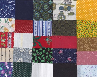 Precut 3 Inch Square Fabric Pieces  2 x 25 = 50 Squares Ready 4 Charm Quilting ~ Scrapbooking ~ Miniature Projects ~ Variety Pack 2A~50