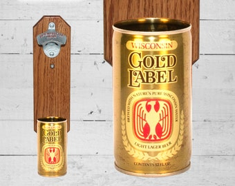 Wisconsin Gold Label Wall Mounted Bottle Opener with Vintage Beer Can Cap Catcher