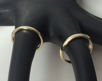 10kt or 14kt yellow gold wedding bands, rose gold wedding rings,  his and hers, domed, half round bands