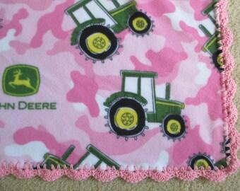 PINK JOHN DEERE Baby Blanket, Fleece with Crocheted Trim, New