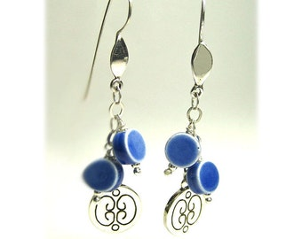 Dangle earrings, everyday earrings, ceramic earrings, blue earrings, silver dangle earrings, wedding earrings, long earrings, delicate gift