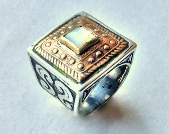 Square ring, Tibetan ring, shell ring, bohemian jewelry, Gypsy ring, Silver Gold Ring, cocktail ring, statement ring - White Russia R1600X