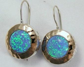 Opal earrings, Two toned earrings, hammered rose gold earrings, blue opal gemstones, sterling silver earrings - Blue fields forever E7717
