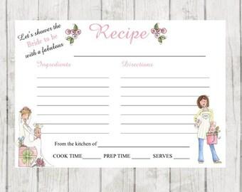 Bridal Shower Recipe Cards- Set of 12