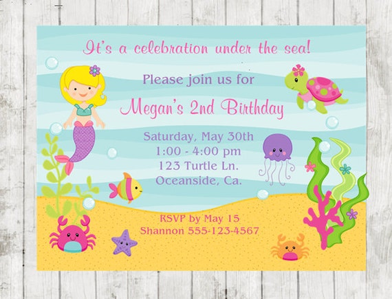 Birthday Invitation Under The Sea Party