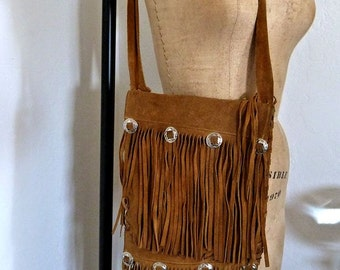 Vintage Suede Leather Shoulder Bag Authentic Hippie Fringed Purse with Silver Conchos Handmade