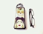 Frida Kahlo glasses case, faux leather vinyl eyeglass holder with necklace lanyard, reading eyewear case