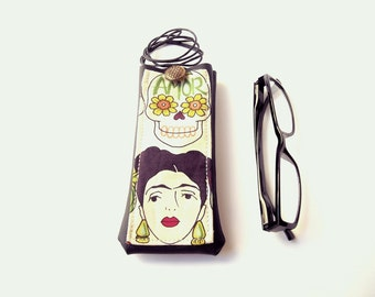Frida Kahlo glasses case, faux leather vinyl eyeglass holder with necklace lanyard, reading eyewear case