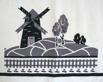 Linen blend dish towel by Martex. Mid century, windmill design, gray, black, white, tea towel, hand towel, kitchen towel.