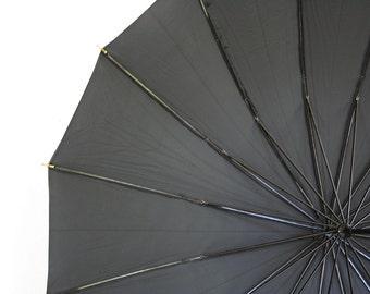Mid century umbrella. Black umbrella, women, classic mid century umbrella, lucite handle, made in USA.