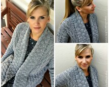 Autumn Leaves Crochet Cardigan Pattern for Women Open Style with Shawl Collar No.925 Digital ePattern Instant Download