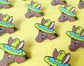 Donkey enamel pin lapel pin badge brooch by Memo Illustration