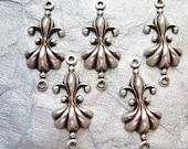 Antiqued silver Fleur de lis 2 ring connectors, lot of (4)- TD128