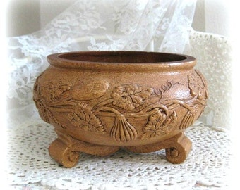 Collectible Bowl Decor Decorative Bowl Planter Decor Serving Bowl Brown Bowl Planter Vase Footed Bowl Planter Bowl Pedestal Bowl Carved USA