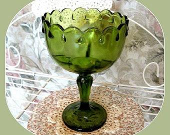 Vintage Green Glass Pedestal Bowl Decor Christmas Decor Glass Candy Bowl Christmas Bowl Glass Serving Bowl Glass Compote Glass Fruit Bowl