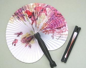Party Fan Supplies 4 Hand Fans Party Supplies Paper Fan Favors Fan Decor Flower Fan Decoration Asian Fan Floral Fan Folding Fan Bird Chinese