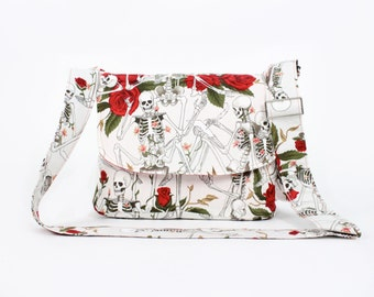 Skeletons and Roses Messenger Bag