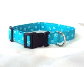 Teal Paw Prints Collar for Your Pup