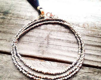Tiny Sterling Silver Nugget Wrap Bracelet with Silk Tassel