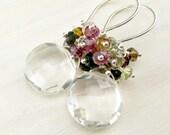 Tourmaline Earrings, Tourmaline Cluster Earrings, Rock Crystal Quartz Sterling Silver Multi Tourmaline Dangle Wire Wrapped Quartz Gemstone