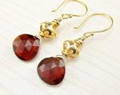 Red Quartz Earrings, Gold Garnet Earrings, Vermeil Red Earrings, Red Gemstone, January Birthstone, Garnet Dangle, Gold Gemstone Jewelry Drop