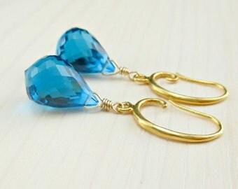 Swiss Blue Quartz Earrings, Blue Quartz Gold Earrings, Vermeil Blue Earrings, Blue Gemstone Earrings, Gold Dangle Earrings, Gold Blue Drop
