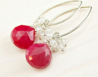 Red Gemstone Earrings Mystic Pearl Quartz, Sterling Silver Red Chalcedony Cluster, Wire Wrapped, Red White Gemstone Dangle Marquise Earrings