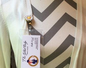 Daisy Badge Clip Hook and Sleeve for Employee ID