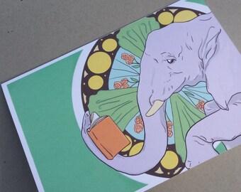 Elephant Book Nouveau Card