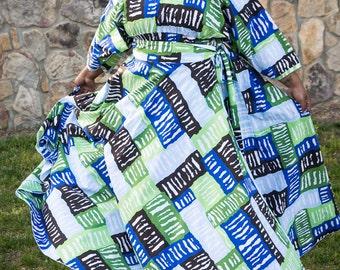 Womens Blue Green and Brown Maxi Skirt / Women plus size High Waist /